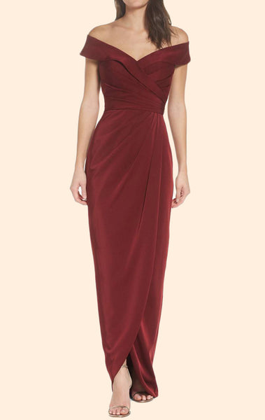 MACloth Off the Shoulder Burgundy Long Prom Dress Formal Evening Gown