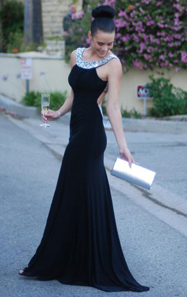MACloth Halter Black Jersey Long Prom Dress Open Back Formal Evening Gown