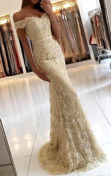 MACloth Off the Shoulder Mermaid Lace Prom Dress Champagne Formal Evening Gown