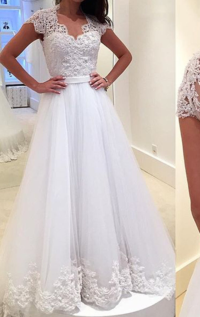 Sleeves Tulle Lace Gown Dress Wedding Cap Gorgeous Prom White Macloth FlcKJ1T