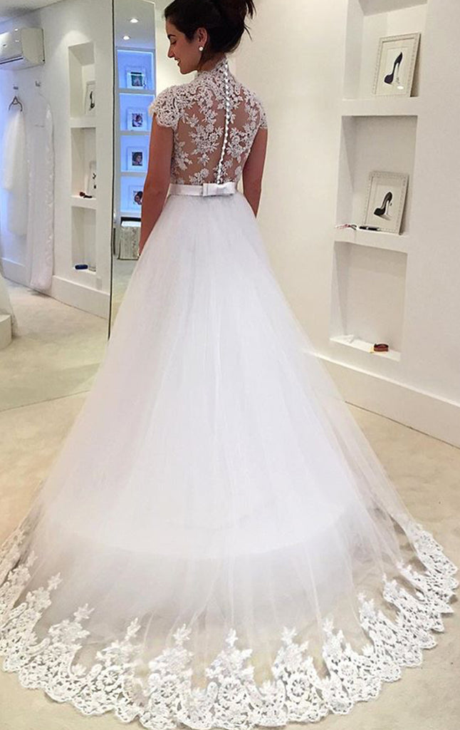 MACloth Cap Sleeves Lace Tulle White Prom Dress Gorgeous Wedding Gown