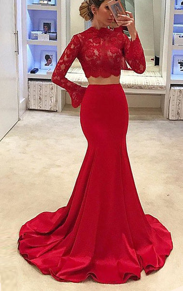 MACloth Mermaid Long Sleeves Lace Red Prom Dress Long Formal Evening Gown