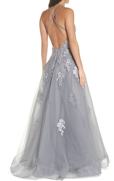 MACloth Spaghetti Straps Lace Tulle Long Prom Dress Silver Formal Evening Gown