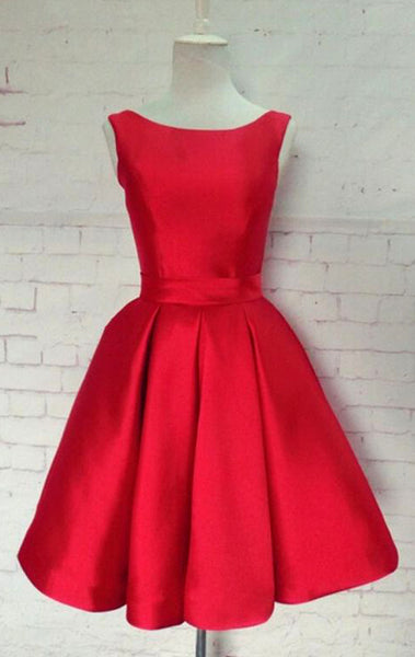 MACloth Scoop Neck Short Prom Dress Red Formal Party Gown