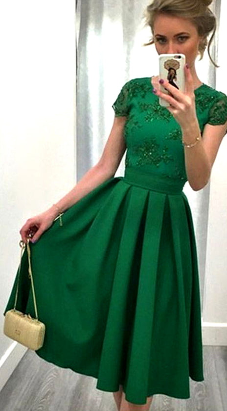 MAcloth Cap Sleeves Lace Satin Short Prom Homecoming Dress Green Formal Party Gown