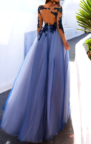 MACloth Illusion Long Sleeves Lace Tulle Prom Dress Navy Formal Evening Gown