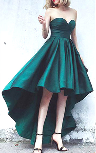 MACloth Strapless High Low Prom Dress Green Formal Evening Gown