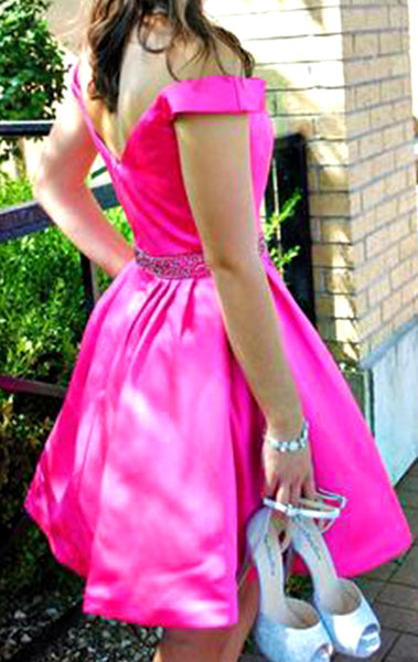 MACloth Off the Shoulder Satin Burgundy Prom Homecoming Dress Pink Formal Party Gown