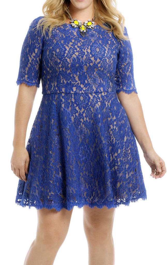 MACloth Half Sleeves Short Lace Cocktail Dress Plus Size Formal Gown