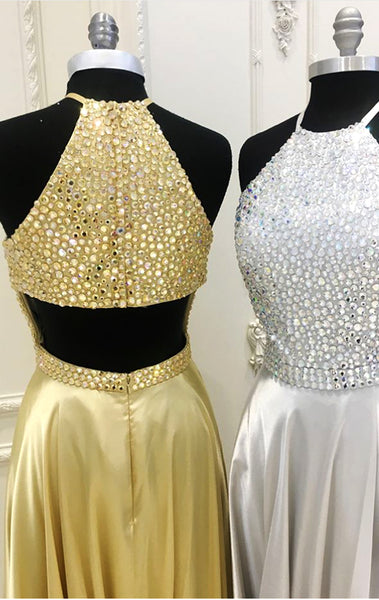 MACloth Halter Crystals Chiffon Silver Long Prom Dress Gold Formal Evening Gown