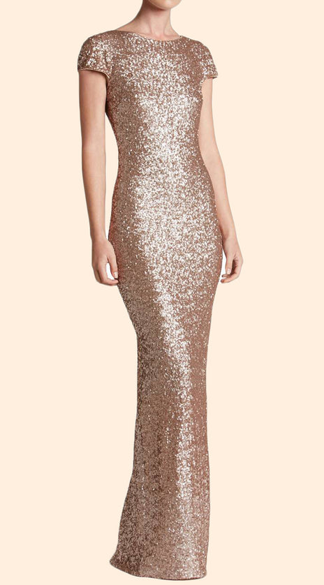 MACloth Cap Sleeves Sequin Rose Gold Long Bridesmaid Dress Simple Prom Gown