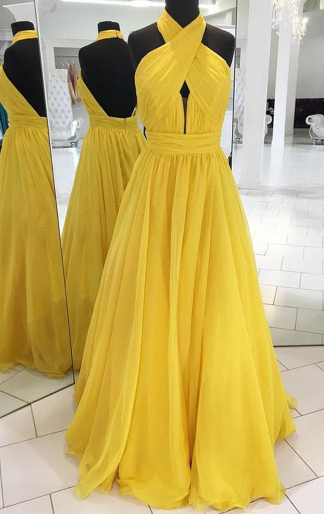 87717a221a MACloth Halter Sexy Chiffon Yellow Long Prom Dress Simple Evening Form
