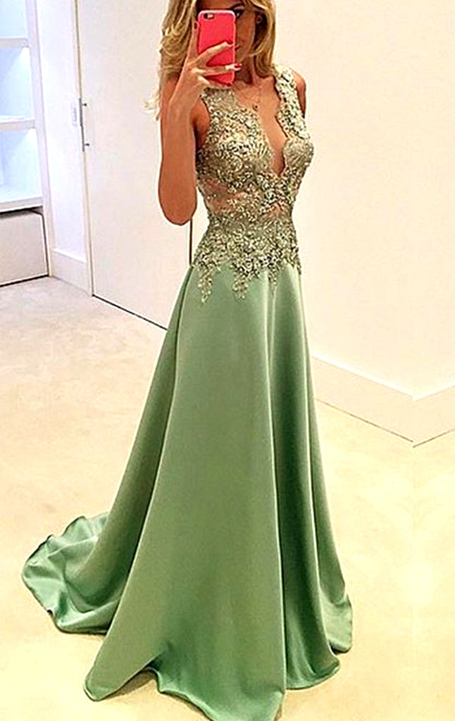 MACloth V Neck Chiffon Lace Long Prom Dress Mint Formal Evening Gown