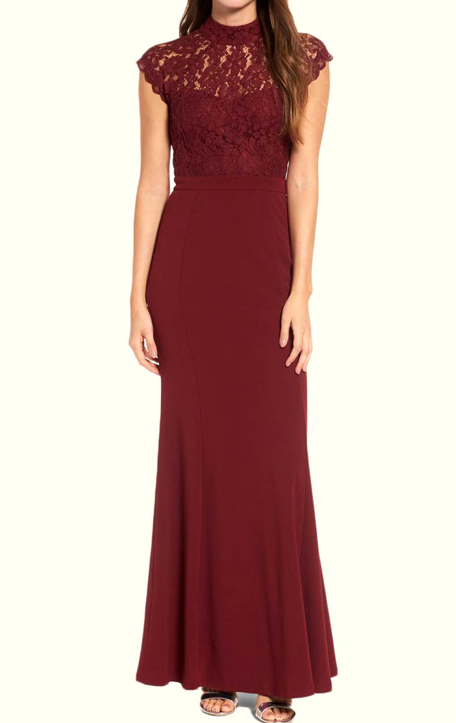 High Neck Lace Long Prom Dress