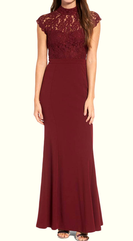 MACloth High Neck Lace Jersey Burgundy Long Prom Dress Simple Formal Evening Gown
