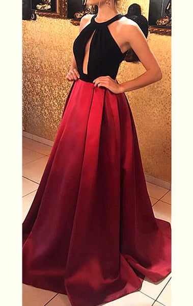 MACloth Halter Open Back Black Burgundy Long Prom Dress Satin Formal Evening Gown