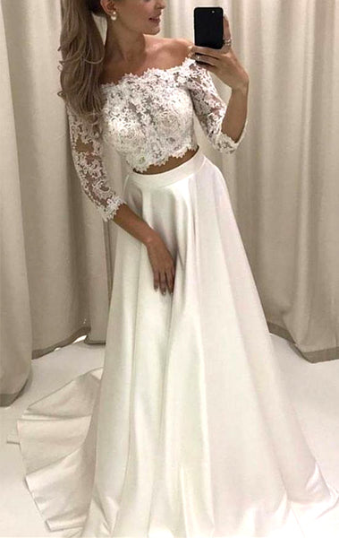MACloth 3/4 Sleeves Lace Two Piece Ivory Prom Dress Off the Shoulder Formal Evening Gown