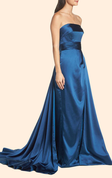 MACloth Strapless Teal Prom Dress with Court Train Elegant Formal Evening Gown