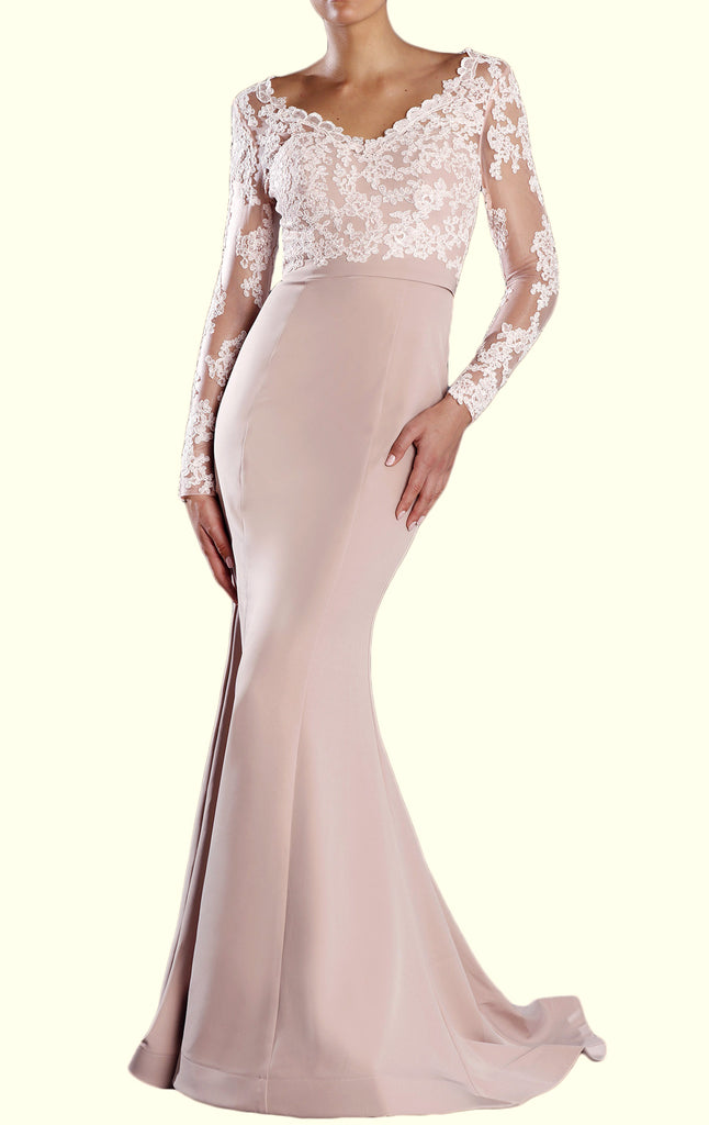 MACloth Long Sleeves V Neck Lace Prom Dress Mermaid Jersey Formal Evening Gown
