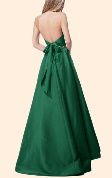 MACloth Halter V Neck 2 Piece Taffeta Prom Dress Green Formal Evening Gown