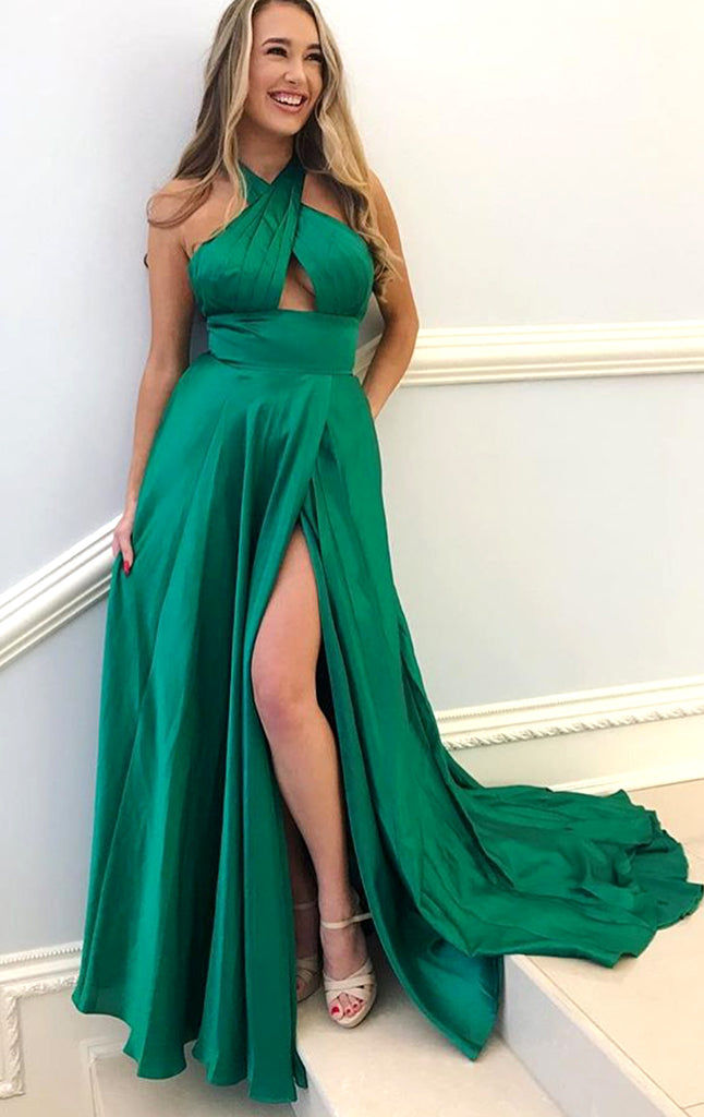 MACloth Halter Sexy Chiffon Long Prom Dress Green Formal Evening Gown