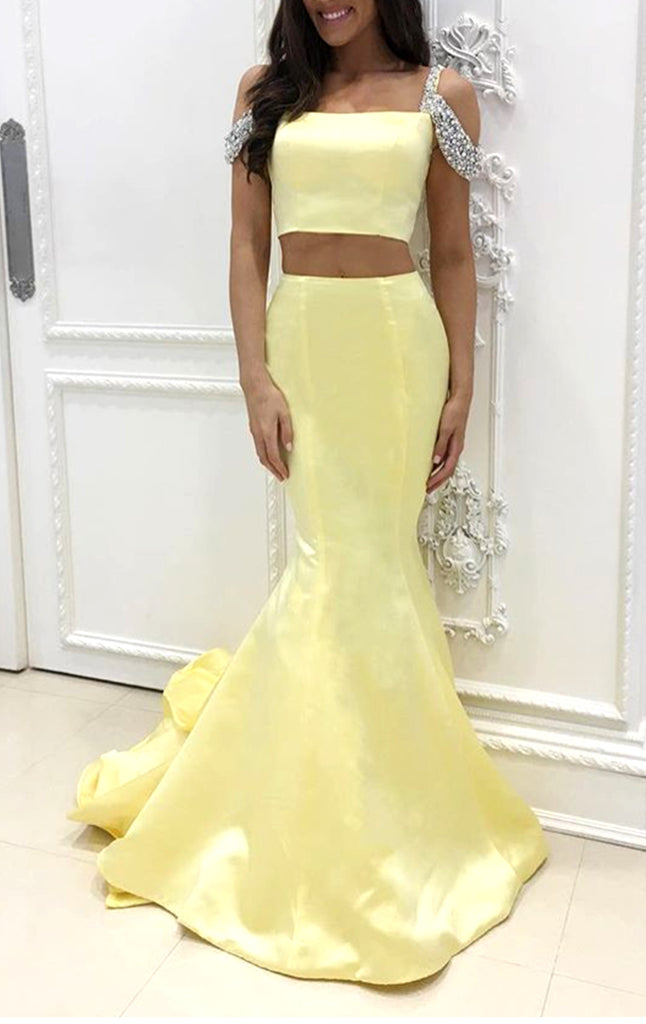 MACloth Mermaid Off the Shoulder 2 Piece Prom Dress Canary Formal Evening Gown
