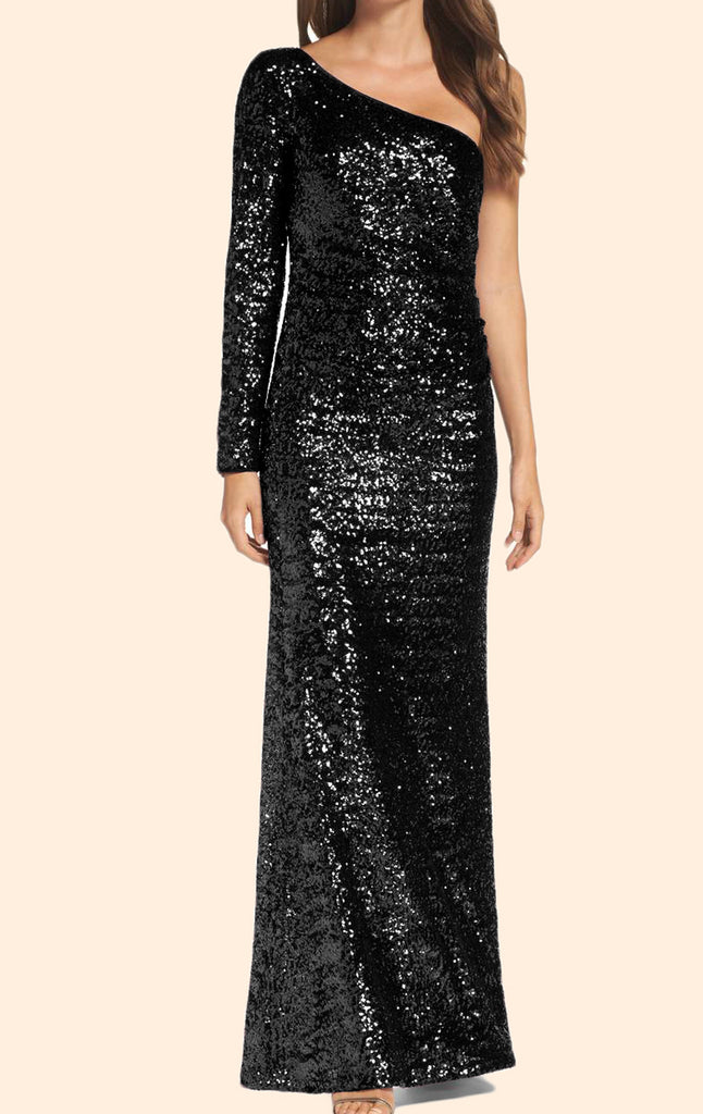 MACloth One Shoulder Long Sleeves Sequin Formal Evening Gown Black Prom Dress