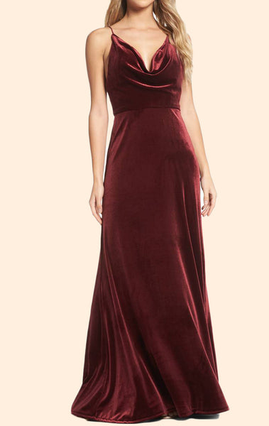 MACloth  Halter Cowl Neck Velvet Long Formal Evening Gown Simple Burgundy Prom Dress