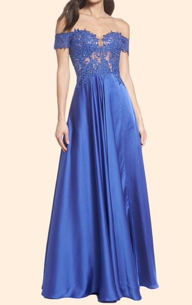 MACloth Off the Shoulder Lace Chiffon Long Prom Dress Blue Formal Evening Gown