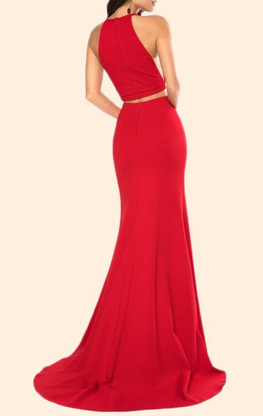MACloth Mermaid 2 Piece Jersey Red Prom Dress Black Formal Evening Gown