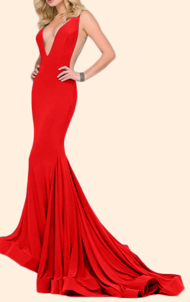 be07ebf33946 MACloth Mermaid Deep V Neck Sexy Prom Dress Red Formal Evening Gown
