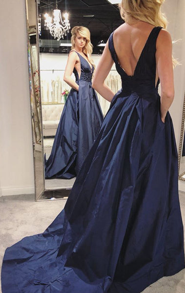 MACloth Deep V Neck Taffeta Dark Navy Prom Dress Elegant Formal Evening Gown