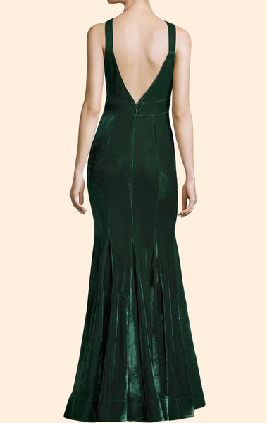 MACLoth Halter Velvet Green Long Simple Prom Dress Formal Evening Gown