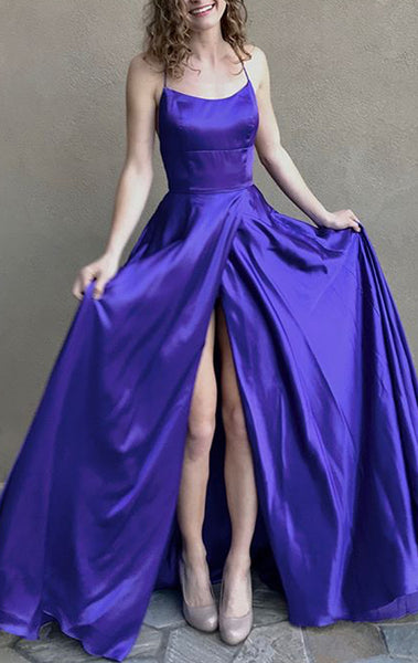 MACloth Spaghetti Straps Open Back Regency Prom Dress Satin Formal Evening Gown