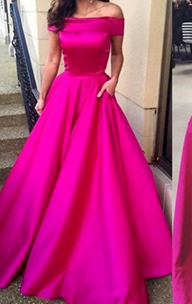 MACloth Off the Shoulder Fuchsia Ball Gown Prom Dress Satin Formal Evening Gown
