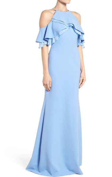 MACloth Off the Shoulder Sheath Long Prom Dress Sky Blue Formal Gown