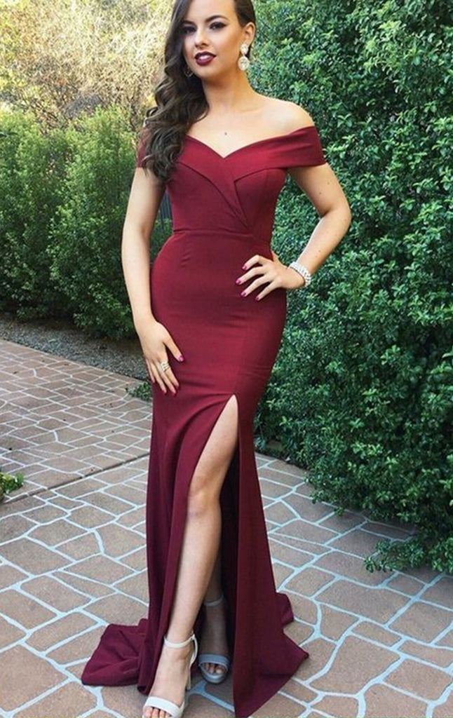 b2a2f68c449 MACloth Off the Shoulder Burgundy Prom Dress Jersey Formal Evening Gown  with Slit
