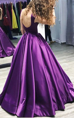 MACloth Boat Neck Satin Ball Gown Prom Dress Purple Formal Evening Gown