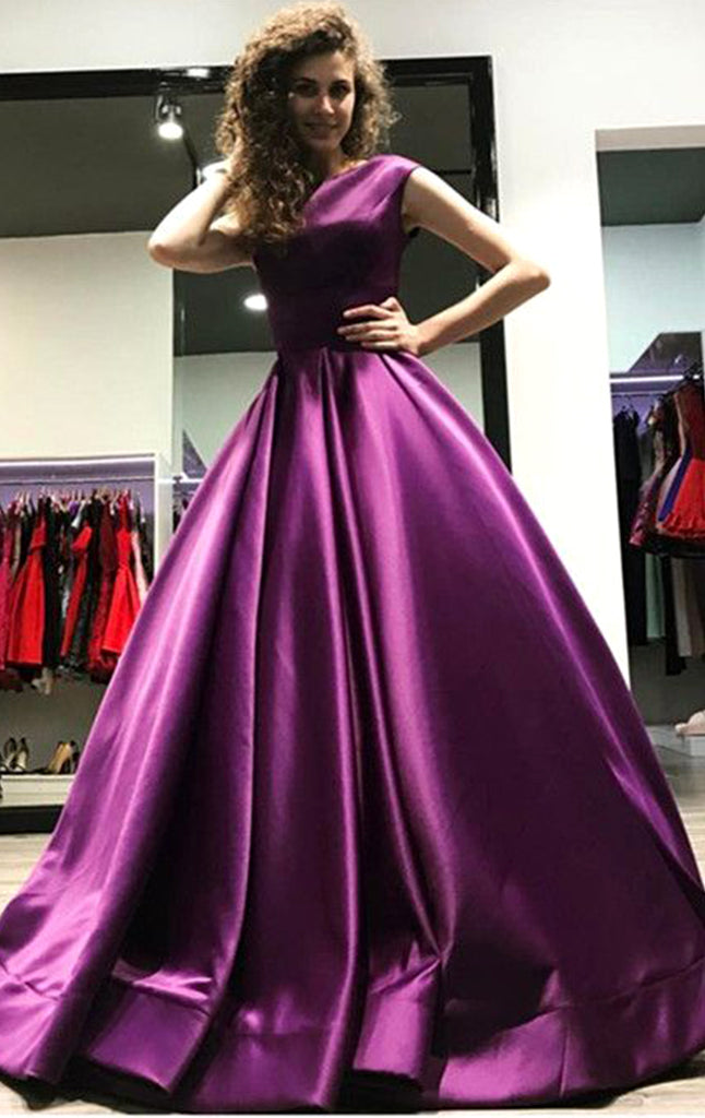 MACloth Boat Neck Satin Ball Gown Prom Dress Purple Formal Evening Gow