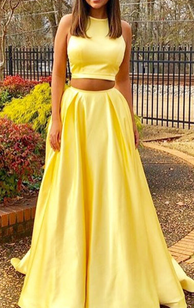 MACloth Halter Two Piece Yellow Prom Dress Elegant Formal Evening Gown