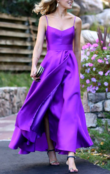 MACloth Spaghetti Straps Purple Satin Prom Dress Tea Length Wedding Party Formal Gown 10579