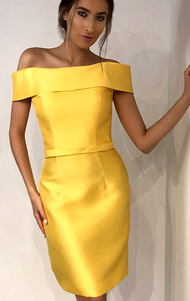 MACloth Off the Shoulder Yellow Short Prom Homecoming Dress Wedding Party Formal Gown