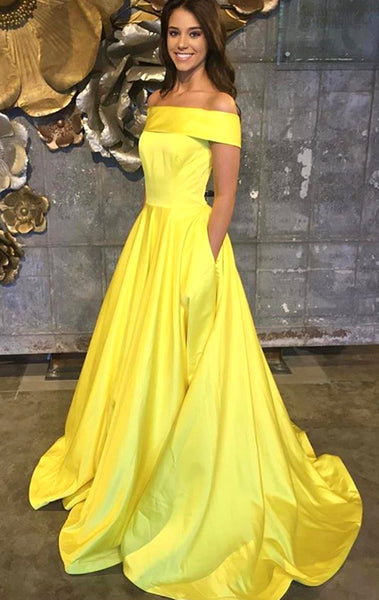 MACloth Off the Shoulder Yellow Long Prom Dress Elegant Formal Evening Gown