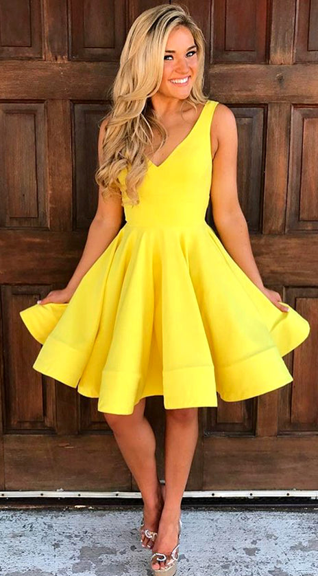 MACloth V Neck Short Prom Homecoming Dress Yellow Wedding Party Formal Gown 10584