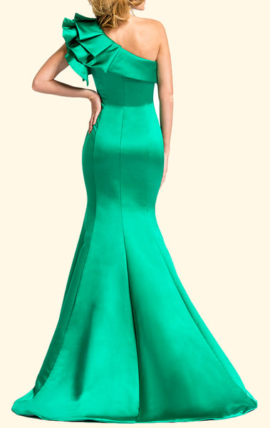 MACloth One Shoulder Mermaid Satin Long Prom Dress Green Formal Evening Gown