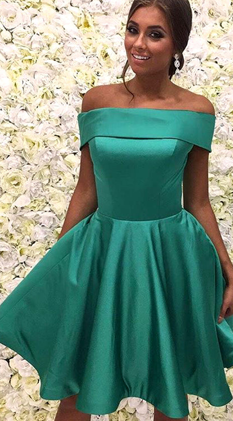MACloth Off the Shoulder Green Short Prom Homeocming Dress Elegant Wedding Party Dress