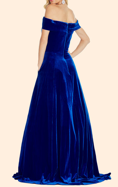 MACloth Off the Shoulder Velvet Long Prom Dress Elegant Royal Blue Formal Evening Gown