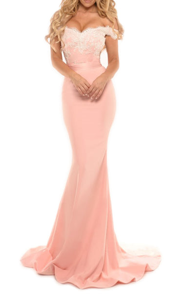 MACloth Mermaid Off the Shoulder Lace Jersey Prom Dress Sexy Formal Gown