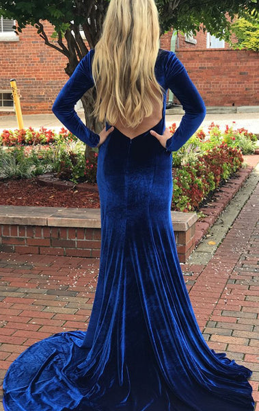 MACloth Mermaid Long Sleeves Velvet Royal Blue Prom Dress V Neck Formal Evening Gown