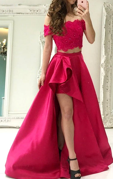 MACloth Off the Shoulder 2 Piece Lace Fuchsia Prom Dress Gorgeous Formal Gown